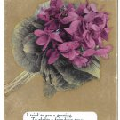 Motto Friendship Poem Postcard Flowers Violets on Gold Background