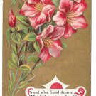 Motto Friendship Postcard Flowers Pink Lilies on Gold Moire