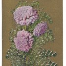 Motto Postcard Friendship Flowers Chrysanthemums on Gold
