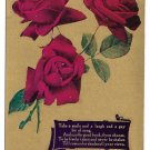 1909 Motto Postcard Flowers Red Roses Gold Background Take a smile and a Laugh