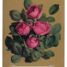 Vintage Motto Postcard Flowers on Gold Background Red Roses With Heartiest Affection