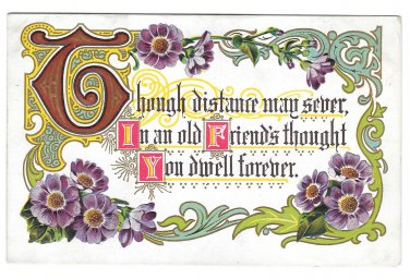 Friendship Motto Postcard Illuminated Letters Embossed Gold Trim