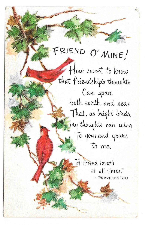 Friendship Poem Postcard Birds Cardinals Christian Art