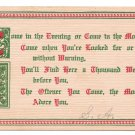 Motto Friendship Poem Postcard Illuminated Letter Vintage 1905 Franz Huld