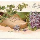 Good Luck Postcard Wooden Dutch Shoe Forget Me Nots Shamrocks Four Leaf Clovers