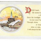 Vintage Motto Love Postcard Winter Scene Church with Steeple Embossed Gold Trim