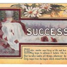 Vintage Motto Postcard Success Ambition Daisies over Waterfall Scene 1909 Arthur Capper