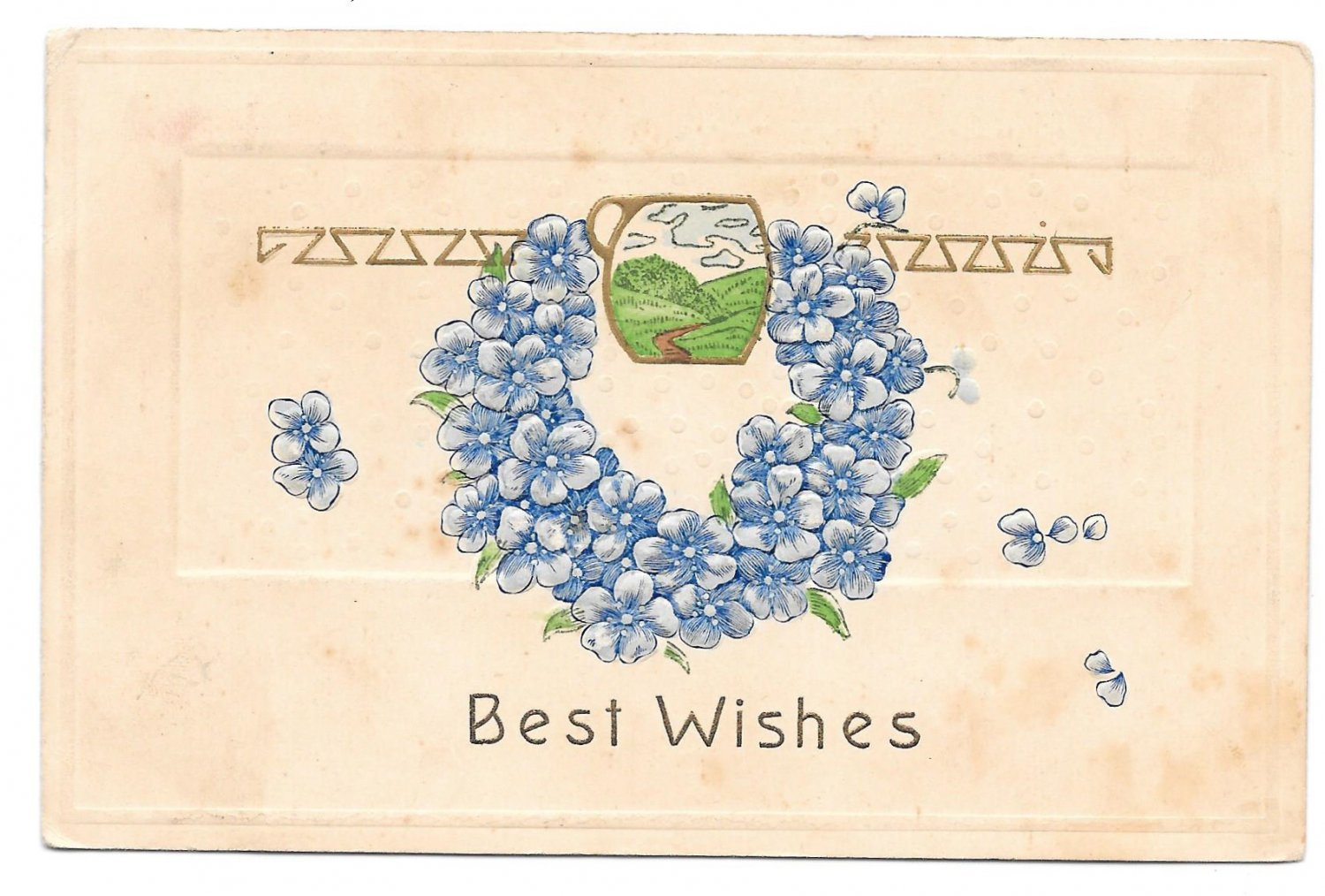 Best Wishes Forget Me Not Wreath Embossed Vintage Printed in Germany Postcard 1908
