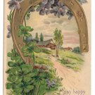 Horseshoe Violets Shamrocks Vintage Embossed Gold Gilt Birthday Postcard