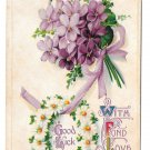 With Fond Love Good Luck Bouquet of Violets Daisy Horseshoe Postcard Embossed