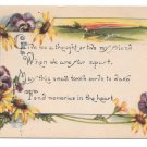 Kathryn Elliott Motto Pansys Black Eyed Susans 1916 Postcard Arts and Crafts
