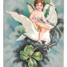 Cherub Flying on Dove Gift of Love Vintage Glitter Valentine IAP Postcard UDB