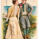 Romance Edwardian Couple Love is not all dear Man Woman Vintage Postcard
