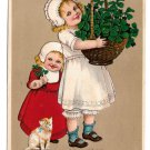 Unsigned Marie Flatscher Birthday Girls Kitten Basket four Leaf Clovers PFB 1910 Postcard