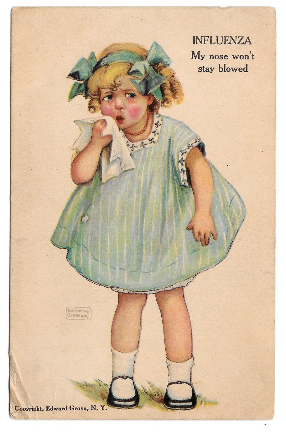 Katharine Gassaway Influenza Ailments of Childhood Series Girl My Nose Wont Stay Blowed