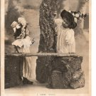 Victorian Children Hats Playing Peek-a-Boo Dress Up I See You Vintage Postcard 1906