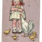 Gassaway Happy Easter Girl with Chicks and Hen Vintage Tuck Postcard