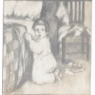 Gassaway Artist Signed Postcard Child Kneeling Now I Lay Me Down To Sleep
