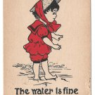 Vintage 1907 Dorothy Hillson Artist Signed Postcard The Water is Fine