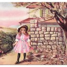 Vintage UDB Postcard Watching for Papa Girl waiting by stone wall for Father