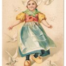 To My Sweetheart Unsigned Clapsaddle Dutch Girl Doves Vintage Embossed Postcard