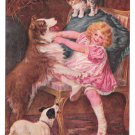 Kiss and Be Friends Girl struggling with Dogs and cat Vintage Postcard