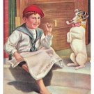 Vintage Postcard Hitting the Pipe Boy Reading Newspaper and Dog Smoking Pipe