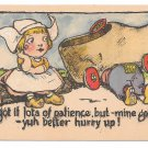 Dutch Kids Vintage Postcard Boy Repairing Wooden Shoe Car I got lots of patience