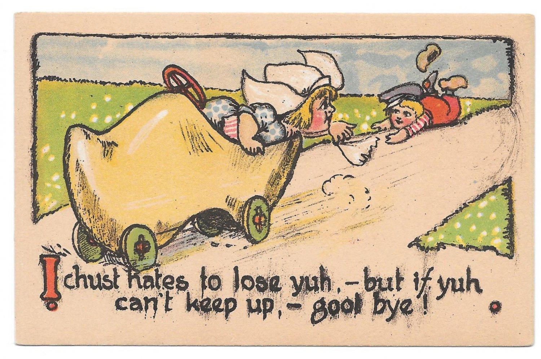 Dutch Kids Vintage Postcard Wooden Shoe Car Girl Dumps Boy I chust hates to lose you