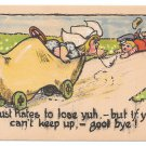 Dutch Kids Vintage Postcard Wooden Shoe Car Girl Dumps Boy I chust hates to lose you