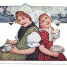 Dutch Girls Netherlands Drinking from Tea Cups Delft Tiles Vintage 1909 Postcard