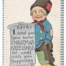 Dutch Kid  Boy with Christmas Greeting Scroll EXTRY Samson Bros Postcard