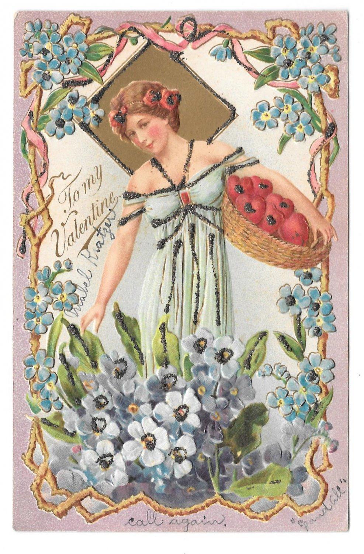 Valentine Postcard Beautiful Woman Basket of fruit Embossed UDB Glitter Added