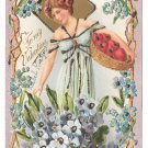 Valentine Postcard Beautiful Woman Basket of fruit Embossed UDB Glitter Added