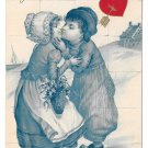 1908 Valentine Dutch Kids Boy Girl Kissing Red Hearts Nister E P Dutton Postcard