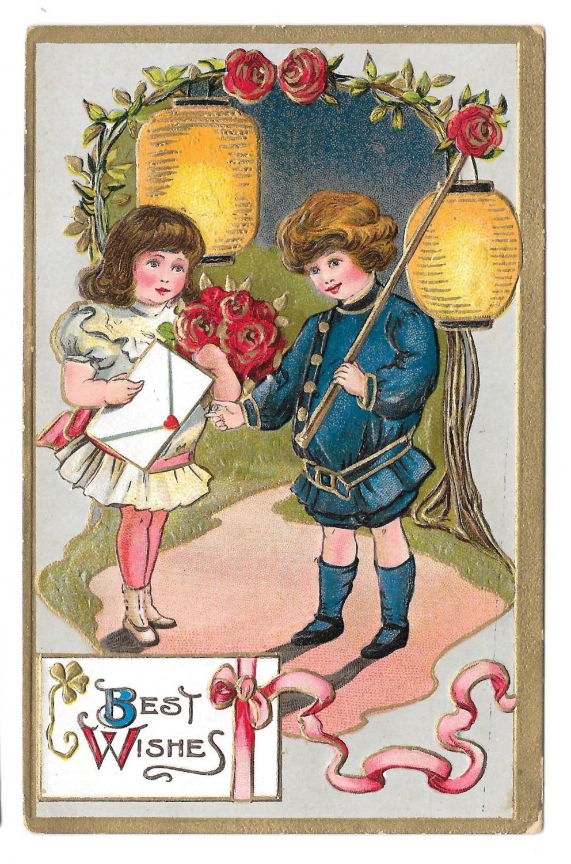 Best Wishes Children Boy Girl Roses Paper Lanterns Gold Gilt Embossed Postcard