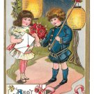 Best Wishes Children Boy Girl Roses Paper Lanterns Gold Gilt Embossed Postcard