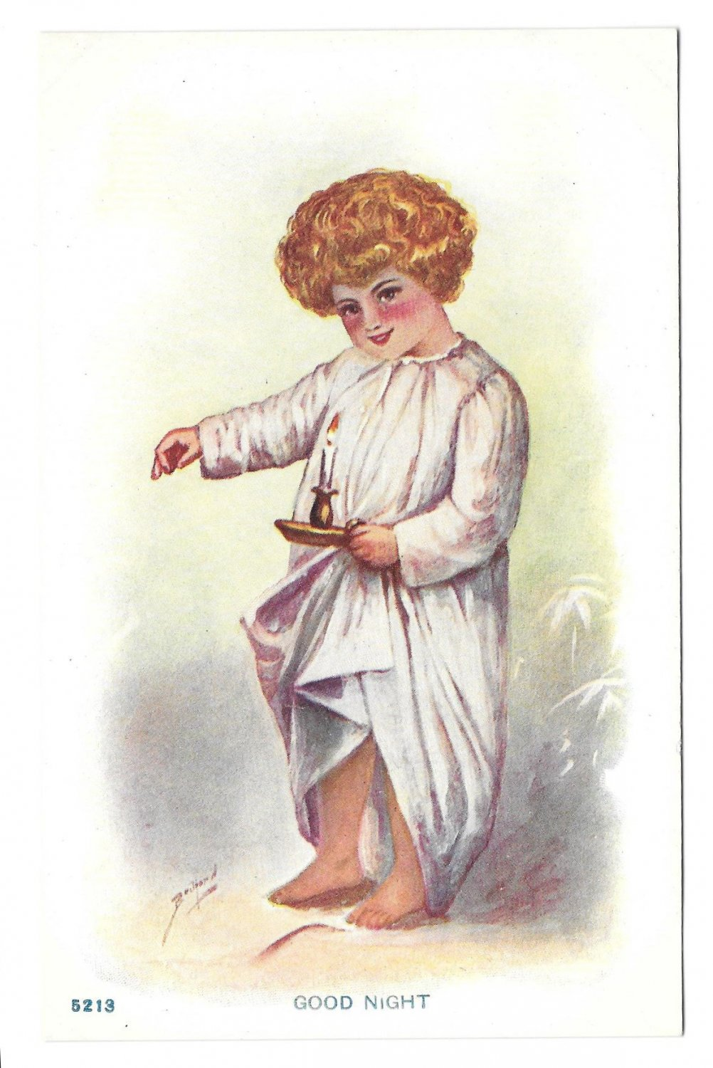 Good Night Artist Signed Child in Nightshirt with Candlestick Vintage Postcard