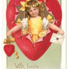 Valentine Girl Bursting thru Heart Love and Devotion Embossed Gilt Vintage IAP Postcard