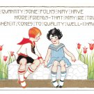 Children Girl Boy Garden Tulips Friendship Poem Vntg Embossed Gold Gilt Postcard