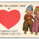 Dutch Kids Vacant Heart Needs Goot Tenant Like You Vintage Valentine Postcard