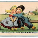 Dutch Kids Vintage Postcard Boy Hugging Girl Ach Himmel Dis is Heafen Already