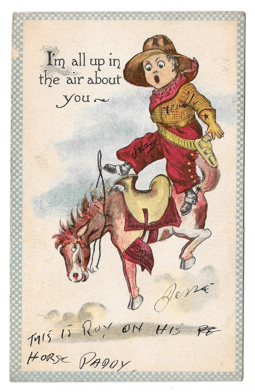 Little Cowboy Riding Bucking Horse I'm All Up the air about you Samson Bros Vintage Postcard