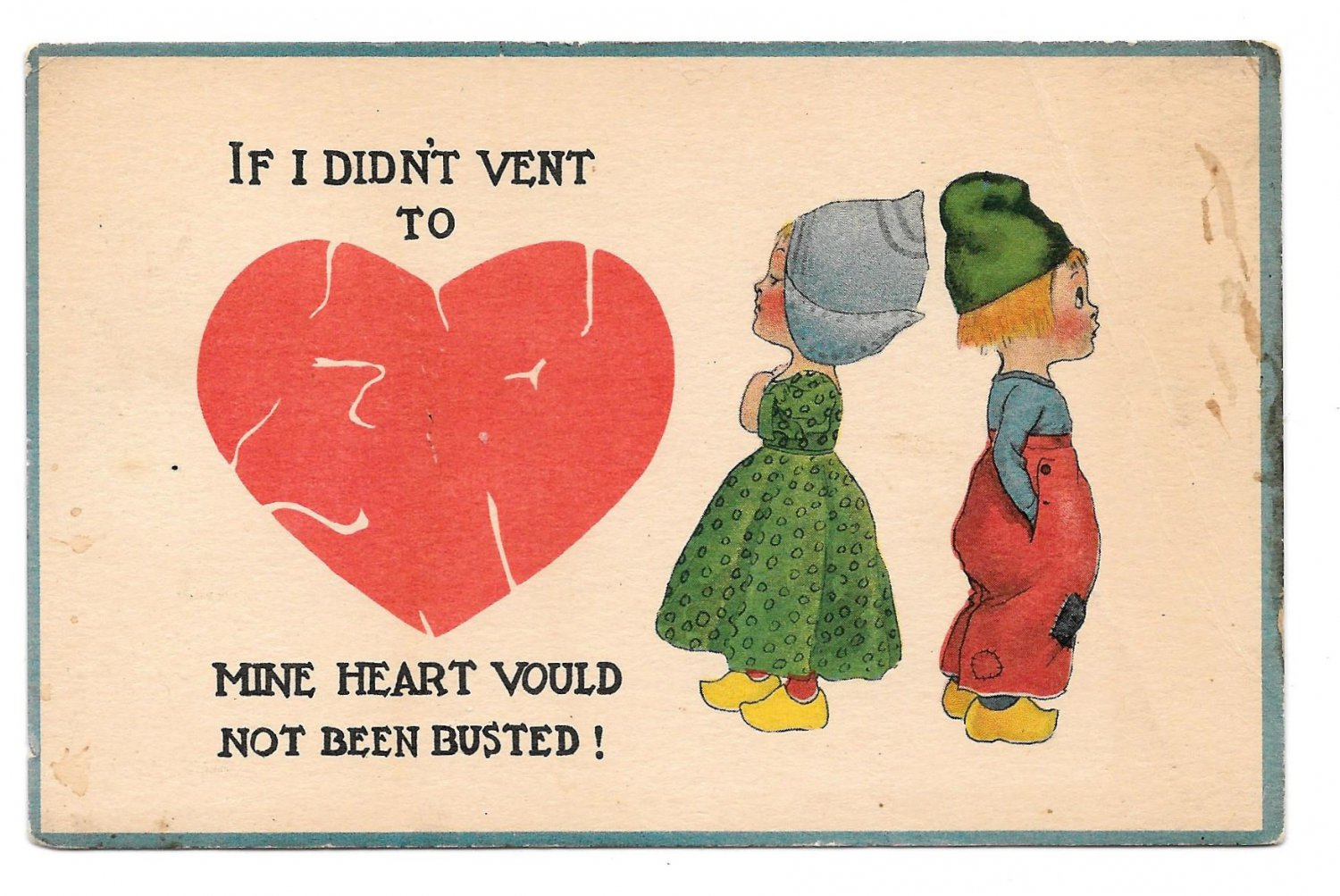 Dutch Kids Love If I didn't Vent to Mine Heart would not been Busted Boy Girl Postcard
