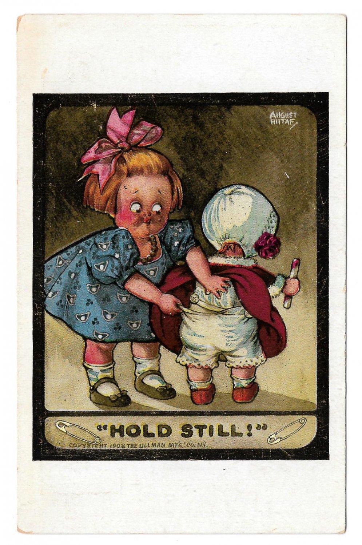 August Hutaf Hold Still LIttle Girl Fixing Baby's Pants Artist Signed Postcard Ullman
