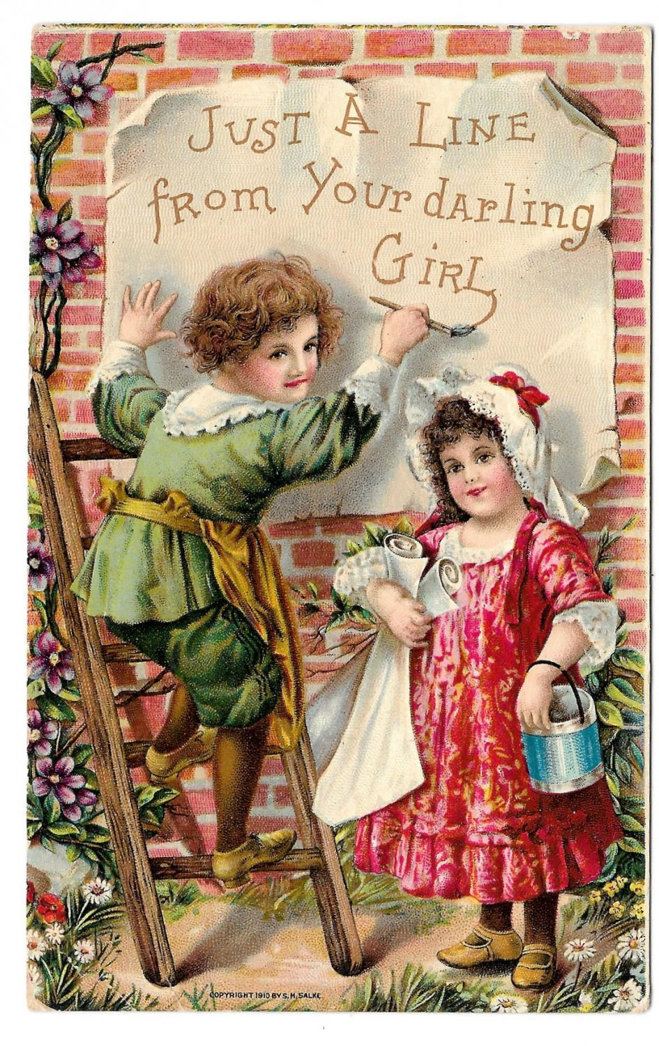 Children Painting Wall Just a Line From Your Darling Girl Vintage Embossed 1917 Postcard