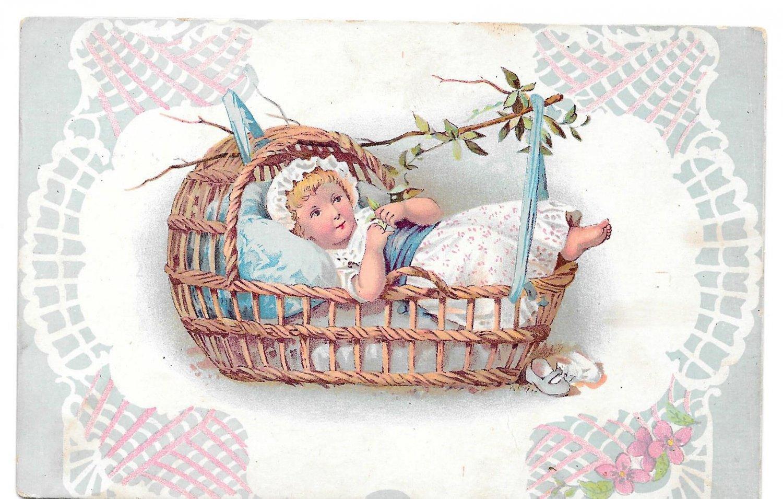 Baby Child Little Girl in Swinging Wicker Basket Plain Back Chromo Litho
