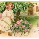 Vintage Embossed Postcard To One I Love Pretty Girl Rose Cart UDB 1907 Romance