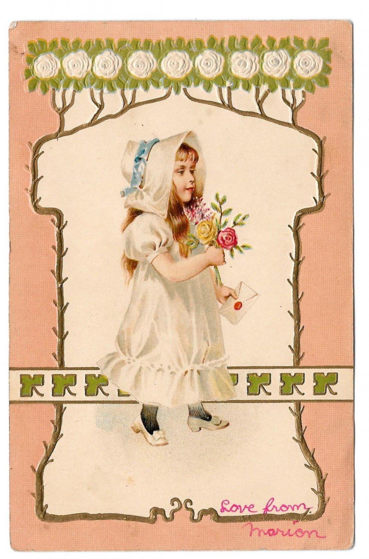 Vintage Embossed Postcard Edwardian Girl in White Bonnet w Rose Bouquet UDB