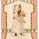 Vintage Embossed Postcard Edwardian Girl in White Bonnet w Rose Bouquet UDB